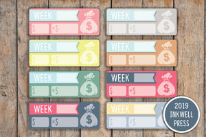 33 Weekly Savings Tracker  / Bills Planner Stickers for 2019 inkWELL Press Planners IWP-G31