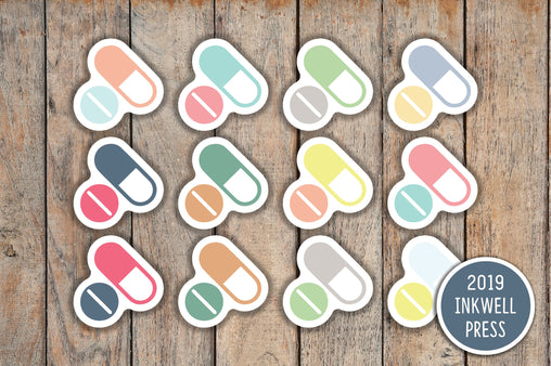 72 Pill Icon, Pill Reminder, Medicine Icon Planner Stickers for 2019 inkWELL Press Planners IWP-T128