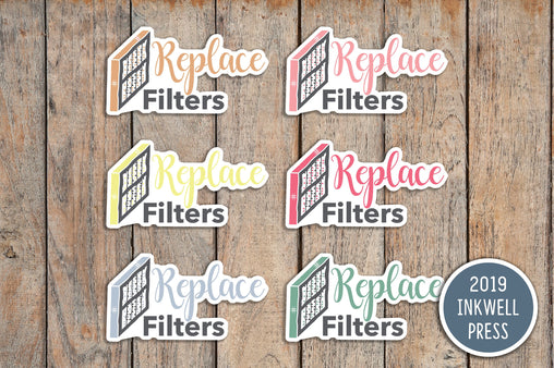 24 Replace Filters, Home Maintenance Icon Planner Stickers for 2019 inkWELL Press Planners IWP-T147