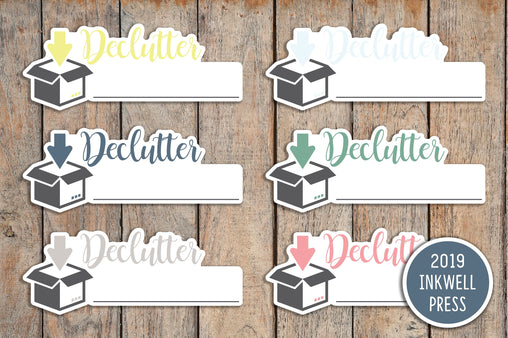 18 Declutter, Organizing, House Chores Planner Stickers for 2019 inkWELL Press Planners IWP-T150