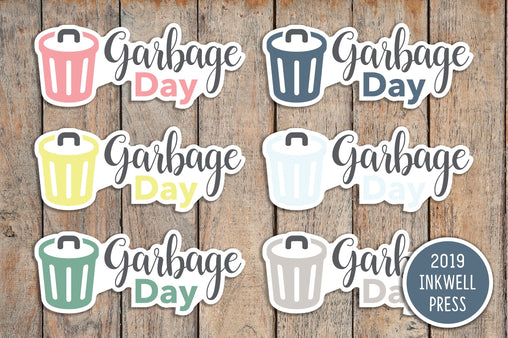 28 Garbage Day, Recycling Day Icon Planner Sticker for 2019 inkWELL Press Planners IWP-T155