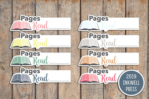 24 Book, Reading, Pages Read Icon Planner Stickers for 2019 inkWELL Press Planners IWP-T162