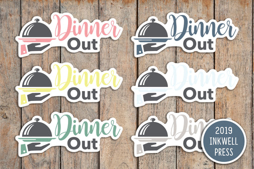 28 Dinner Out Icon Stickers for 2019 inkWELL Press Planners IWP-T167