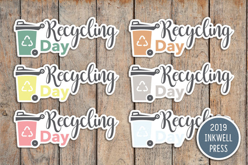 28 Recycling Day Icon Planner Sticker for 2019 inkWELL Press Planners IWP-T174