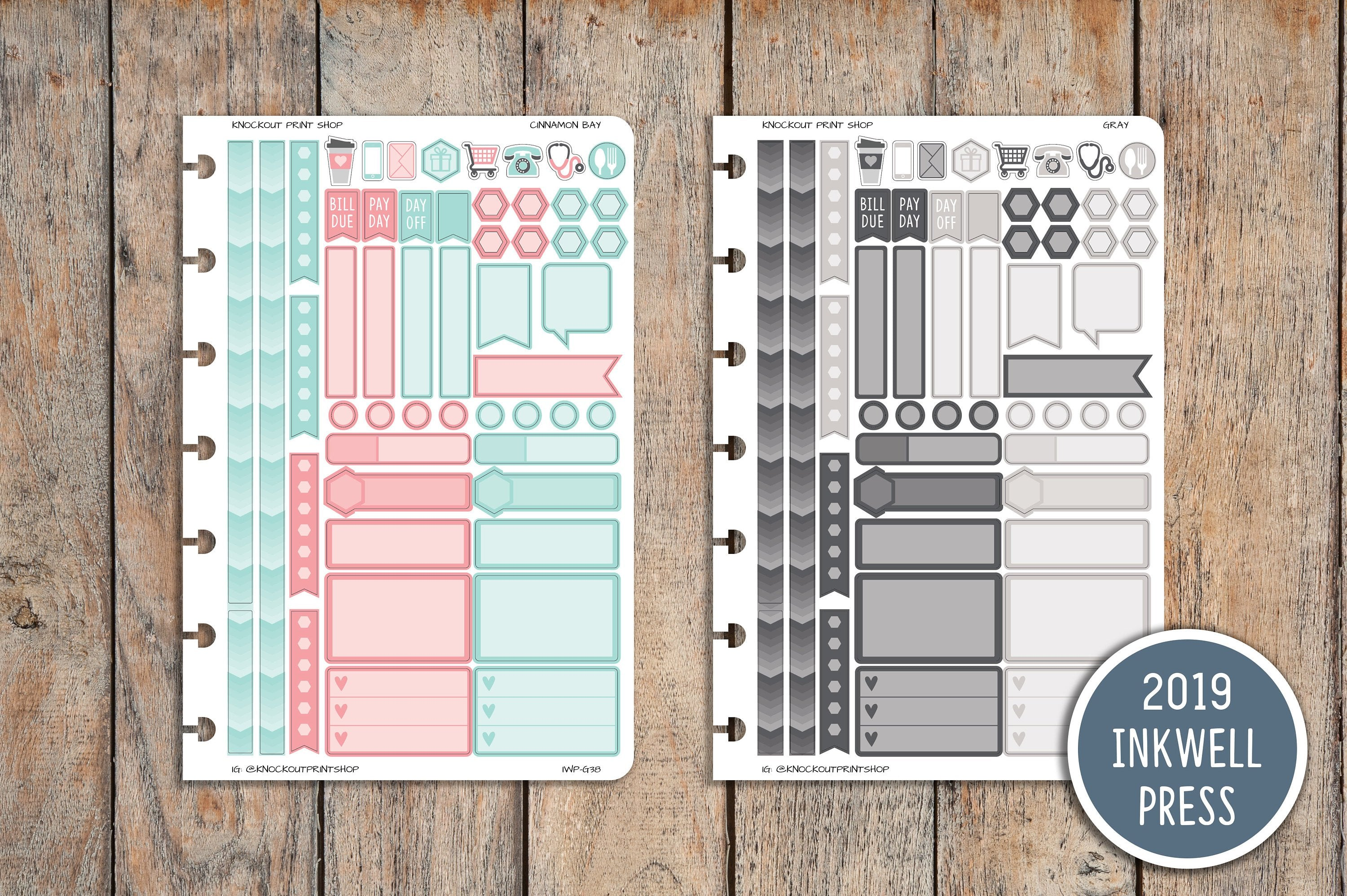 51 OTG 360 inkWELL Disc Punched Sampler Sticker sheet for 2019 inkWELL Press Planners IWP-G38
