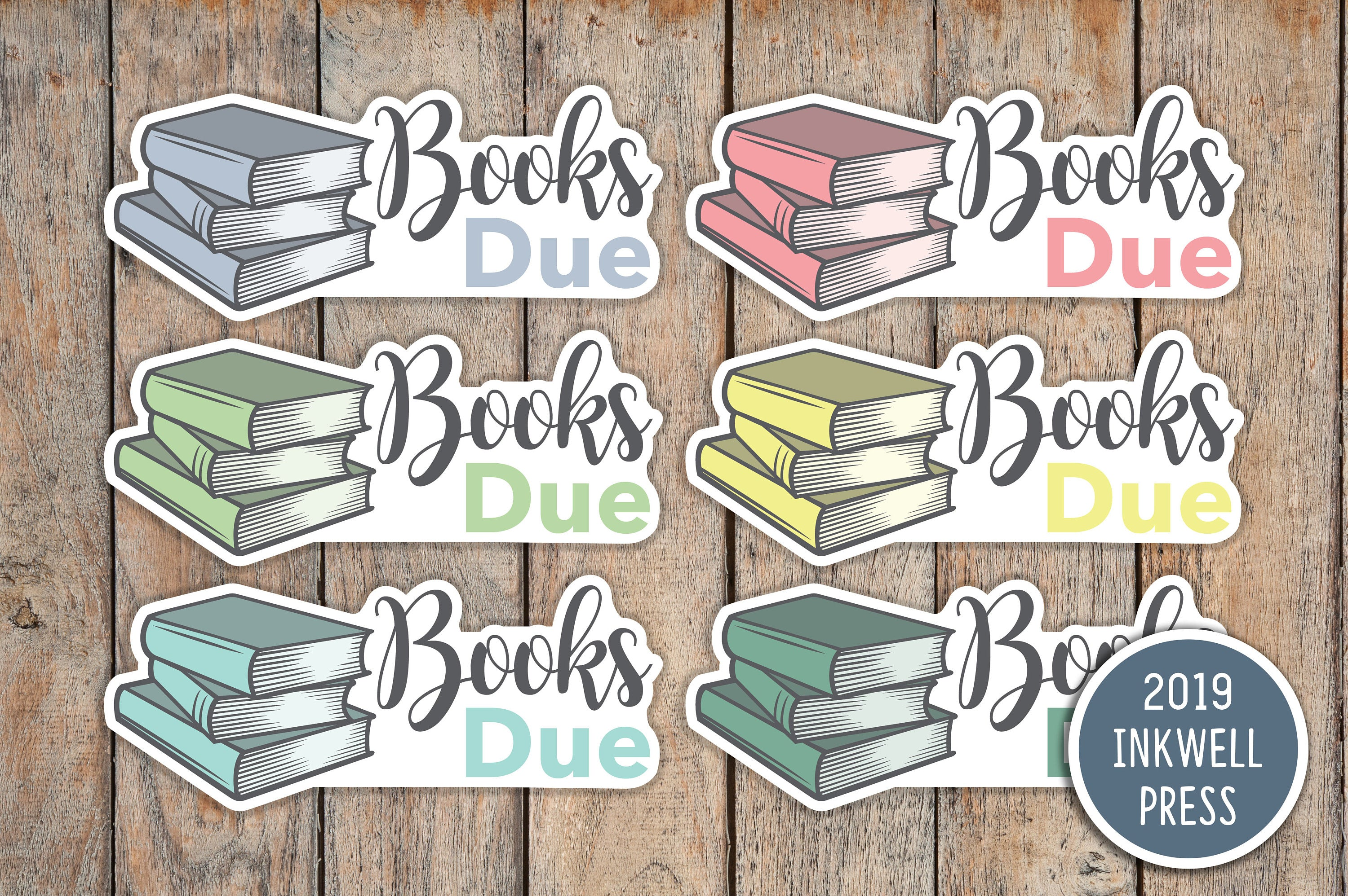 Library Books Due Planner Stickers for 2019 inkWELL Press Planners IWP-T220