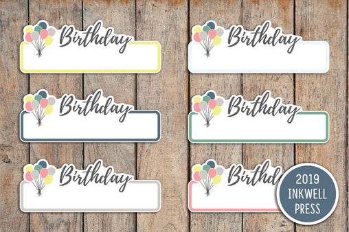 18 Birthday Label Planner Stickers for 2019 inkWELL Press Planners IWP-T184