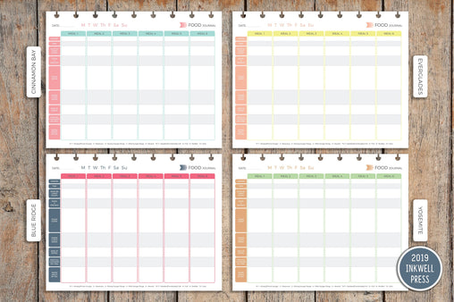 Daily Food Journal PRINTED Planner Inserts for Inkwell Disc Planner IWP-I17