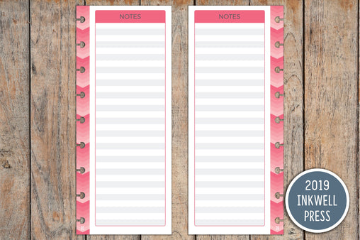 Vertical Notes PRINTED Planner Inserts for 2019 inkWELL Press Planners IWP-I19