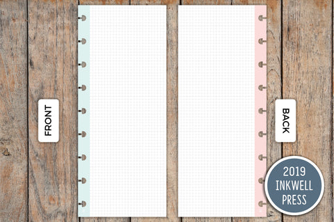 Vertical Half Sheet Grid PRINTED Planner Inserts for 2019 inkWELL Press Planners IWP-I20