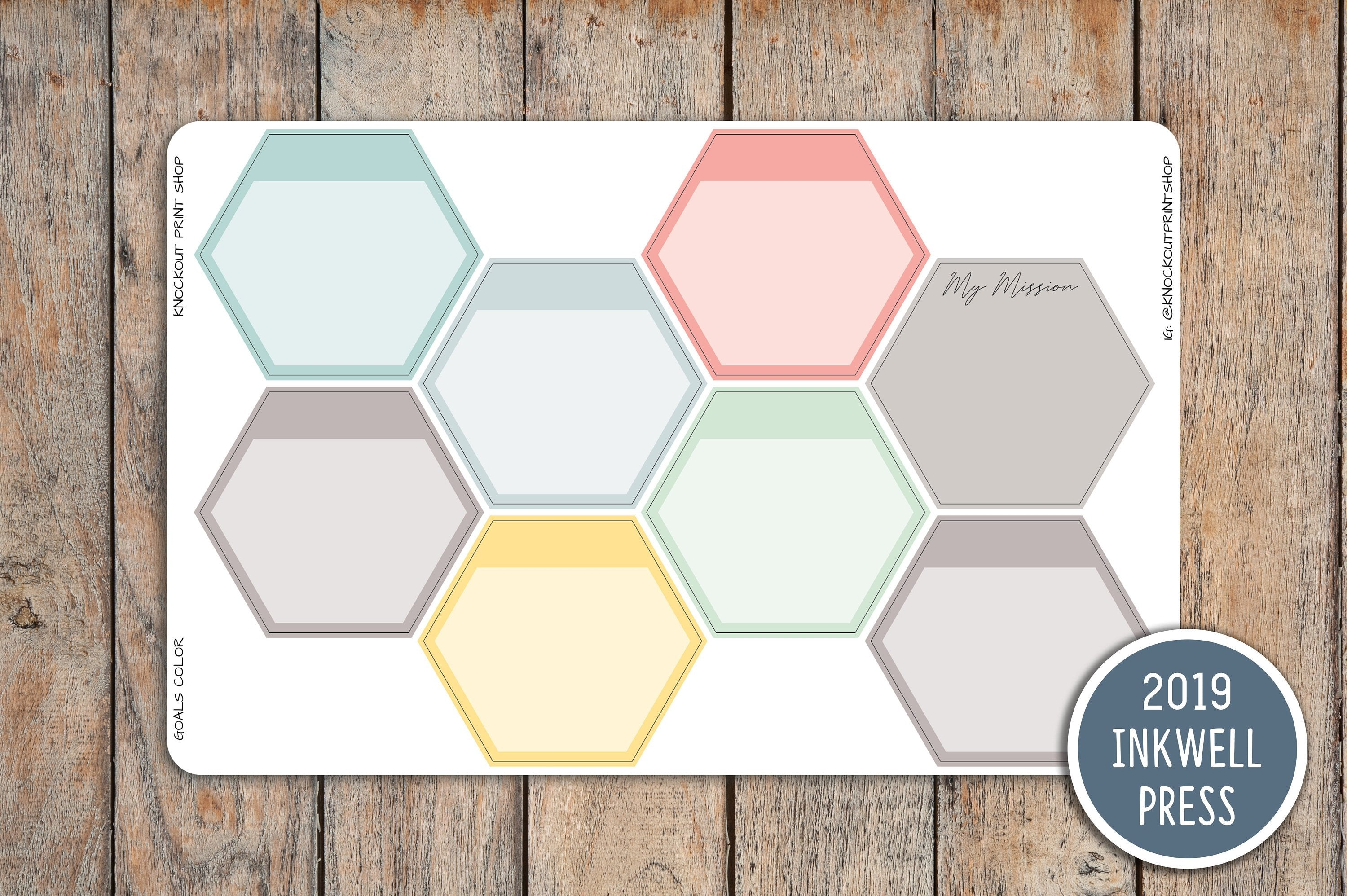 Goal Mission Board Hexagon Planner Stickers for 2019 Inkwell Press Planner IWP-G54