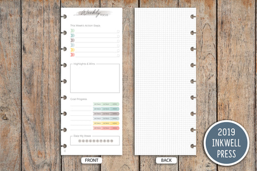 Weekly Focus PRINTED Planner Inserts for 2019 inkWELL Press Planners IWP-I28