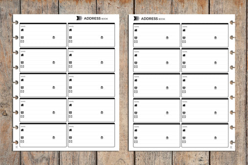 Address Book PRINTED Planner Inserts for Disc Planners IWP-IG1