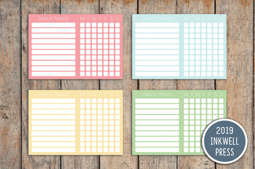 Daily Tasks Checklist Planner Stickers for 2019 inkWELL Press Planners IWP-G52