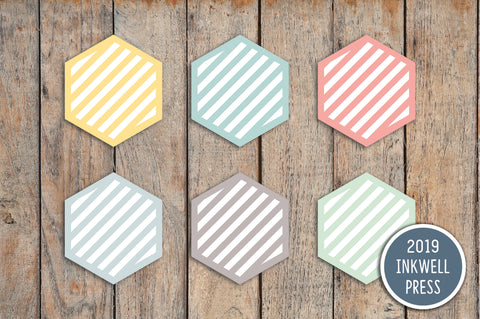 Goal Striped Mini Hexagons Stickers for 2019 inkWELL Press Planners IWP-T244
