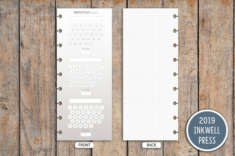 Neutral Vertical Monthly Habit Tracker PRINTED Planner Inserts for 2019 inkWELL Press Planners IWP-I27