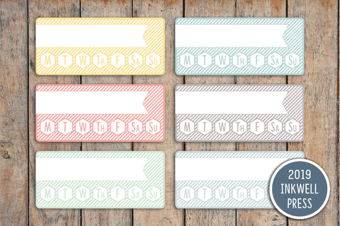 Striped Goal Habit Tracker Planner Stickers for 2019 inkWELL Press IWP-G56