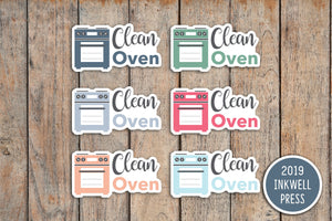 Clean Oven Planner Stickers for 2019 inkWELL Press Planners IWP-T252