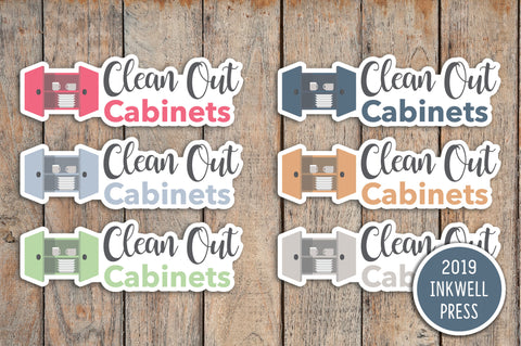 Clean Kitchen Cabinets Planner Stickers for 2019 inkWELL Press Planners IWP-T255