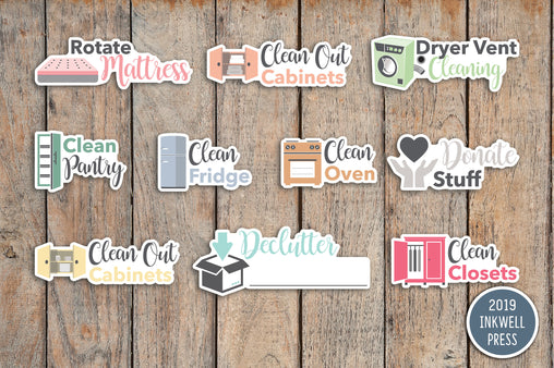 Quarterly Chores Sampler Planner Stickers for 2019 inkWELL Press Planners IWP-G57