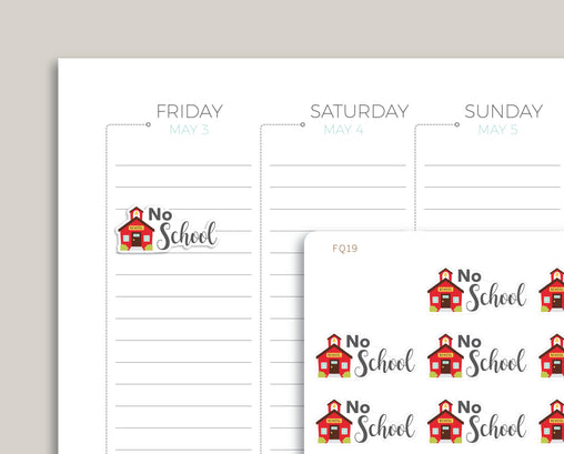 No School Planner Sticker FQ19