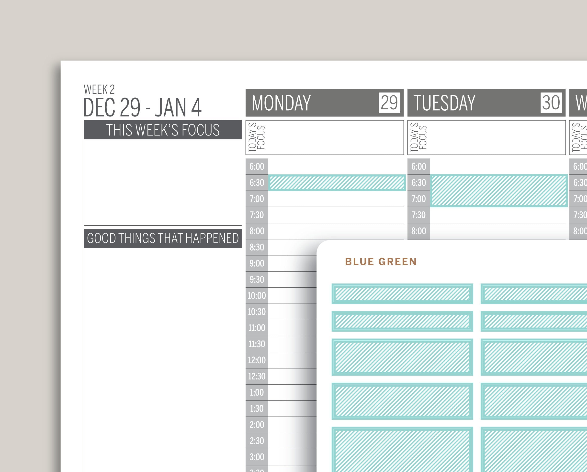 Mildliner Striped Time Block Sampler for Passion Planner PP-L2