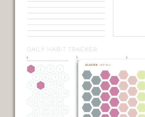 Solid Habit Tracker Hexagons Stickers for 2020 inkWELL Press Planners IWP-RL1