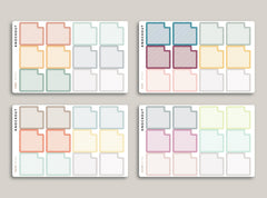 Striped Monthly Box Planner Stickers for 2020 inkWELL Press Planners IWP-RL12