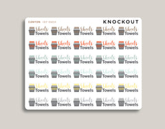 24 Sheets & Towels Icon Planner Stickers for 2020 inkWELL Press Planners IWP-RM59