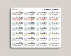 Monthly Budget Stickers for 2020 inkWELL Press Planners IWP-RM31