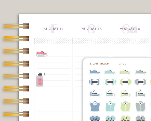 Fitness & Health Icon Sampler Planner Stickers for MakseLife Planner MH30