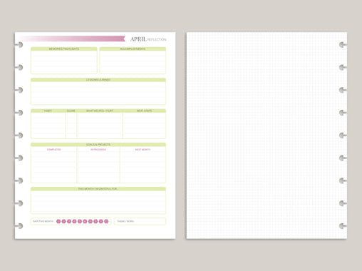Monthly Reflection PRINTED Planner Inserts for 2020 Inkwell Disc Planner IWP-RI9