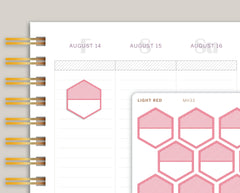 Striped Large Hexagon Planner Stickers for Makse Life Planner MH33