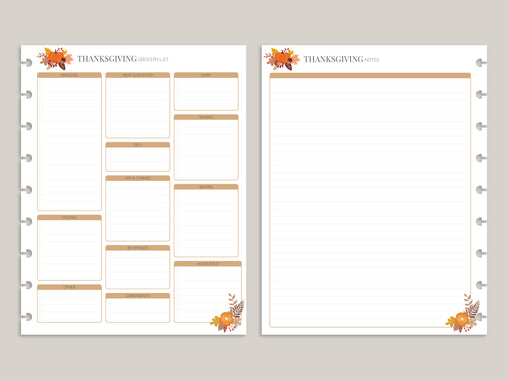 Thanksgiving Planner Pack PRINTED Planner Inserts FI11