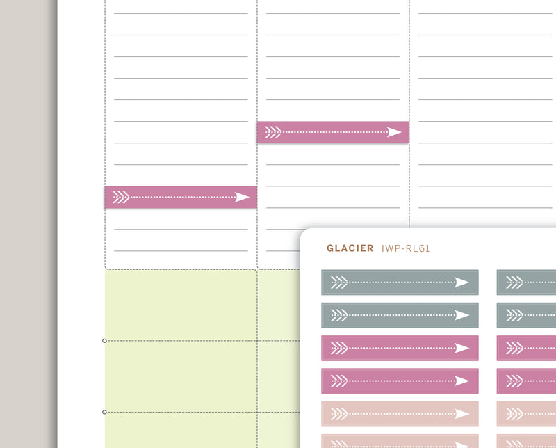 LS46  Thin Arrow Planner Stickers in the Pale Palette