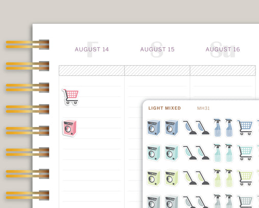 Cleaning Icon Sampler Planner Stickers for MakseLife Planner MH31