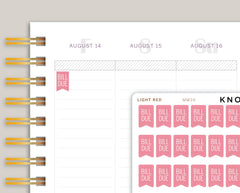 Bill Due Flag Planner Stickers for Makse Life planner MM39