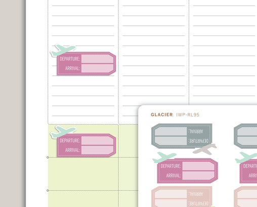 Flight Info Travel Tag Planner Stickers for 2020 inkWELL Press Planners IWP-RL95