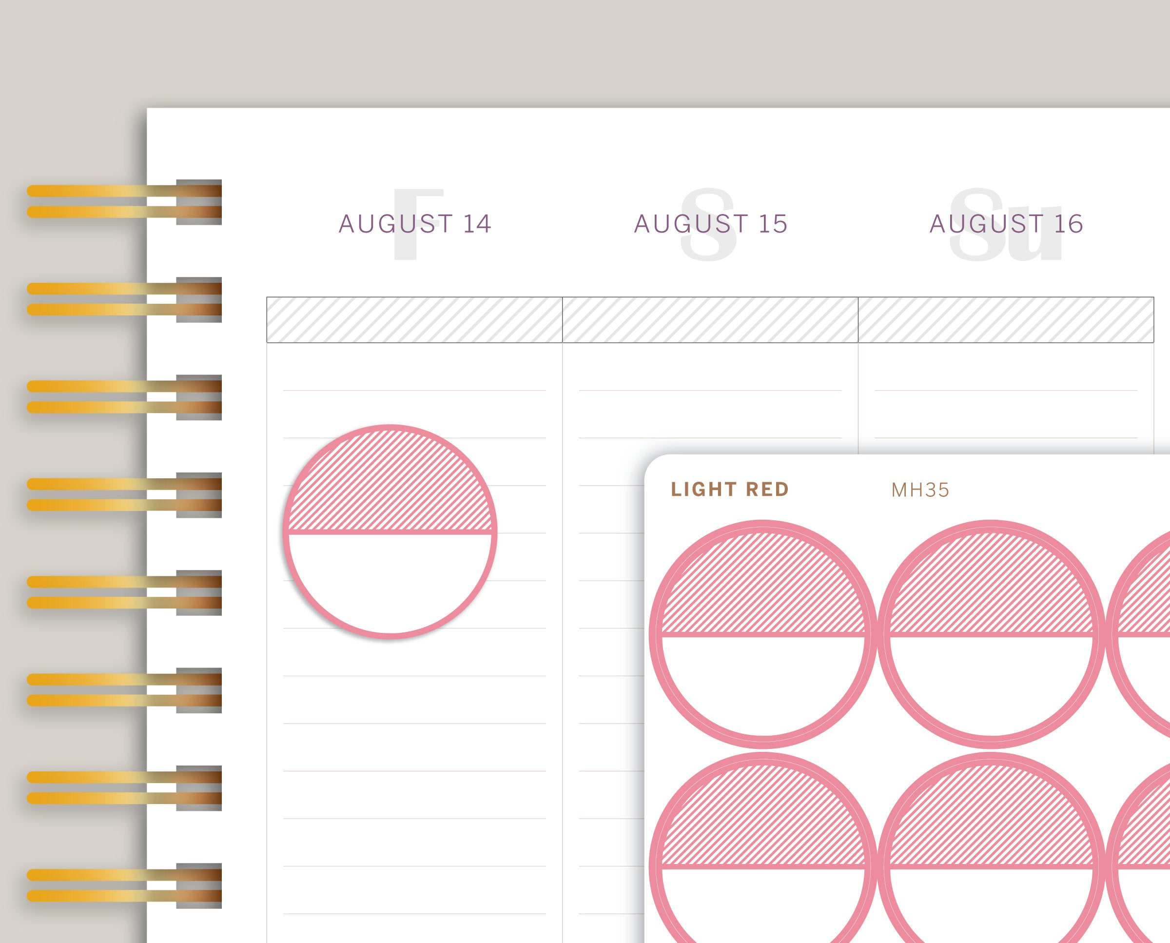 Striped Large Circle Planner Stickers for Makse Life Planner MH35