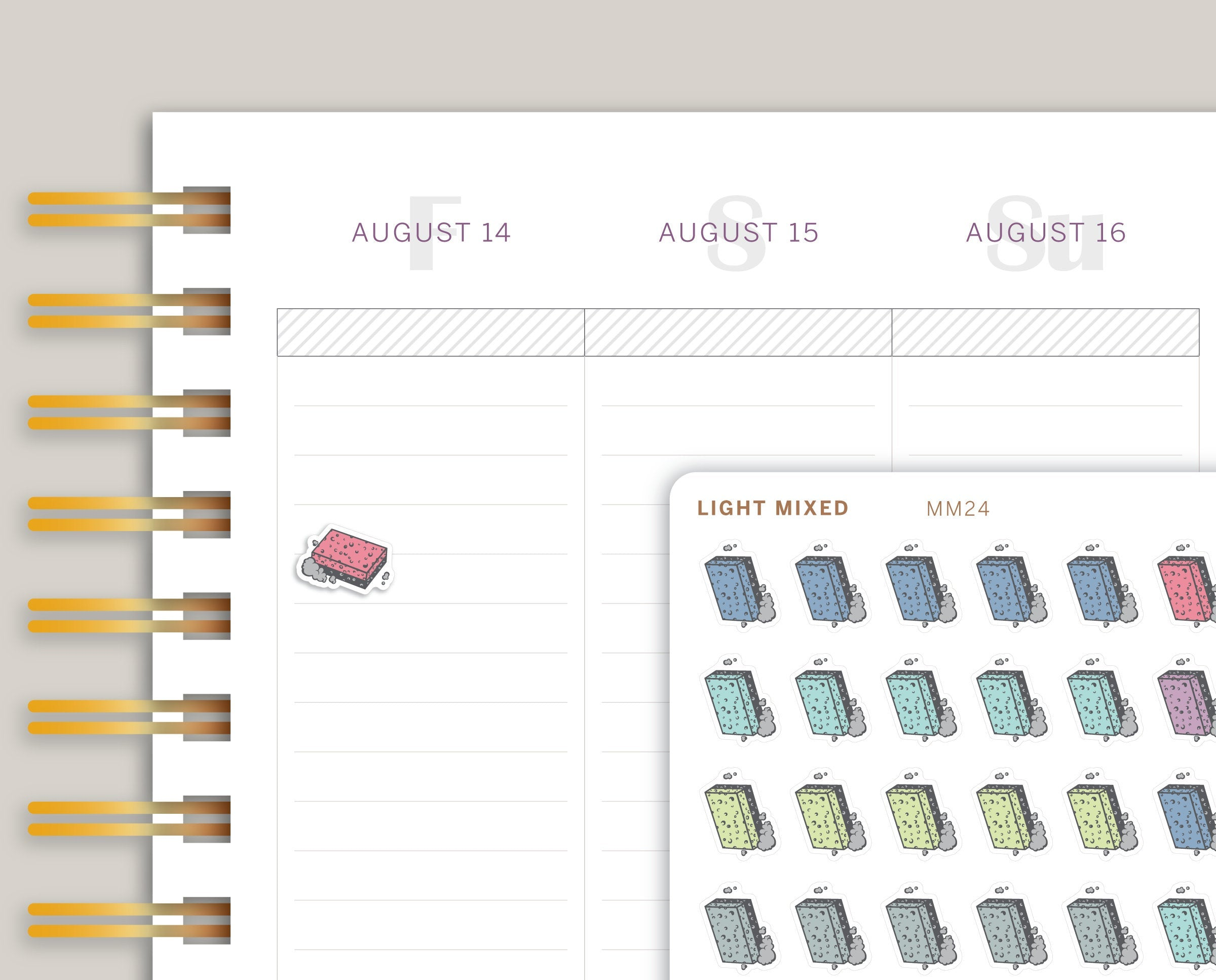 Cleaning Sponge Icon Sampler Planner Stickers for MakseLife Planner MM24