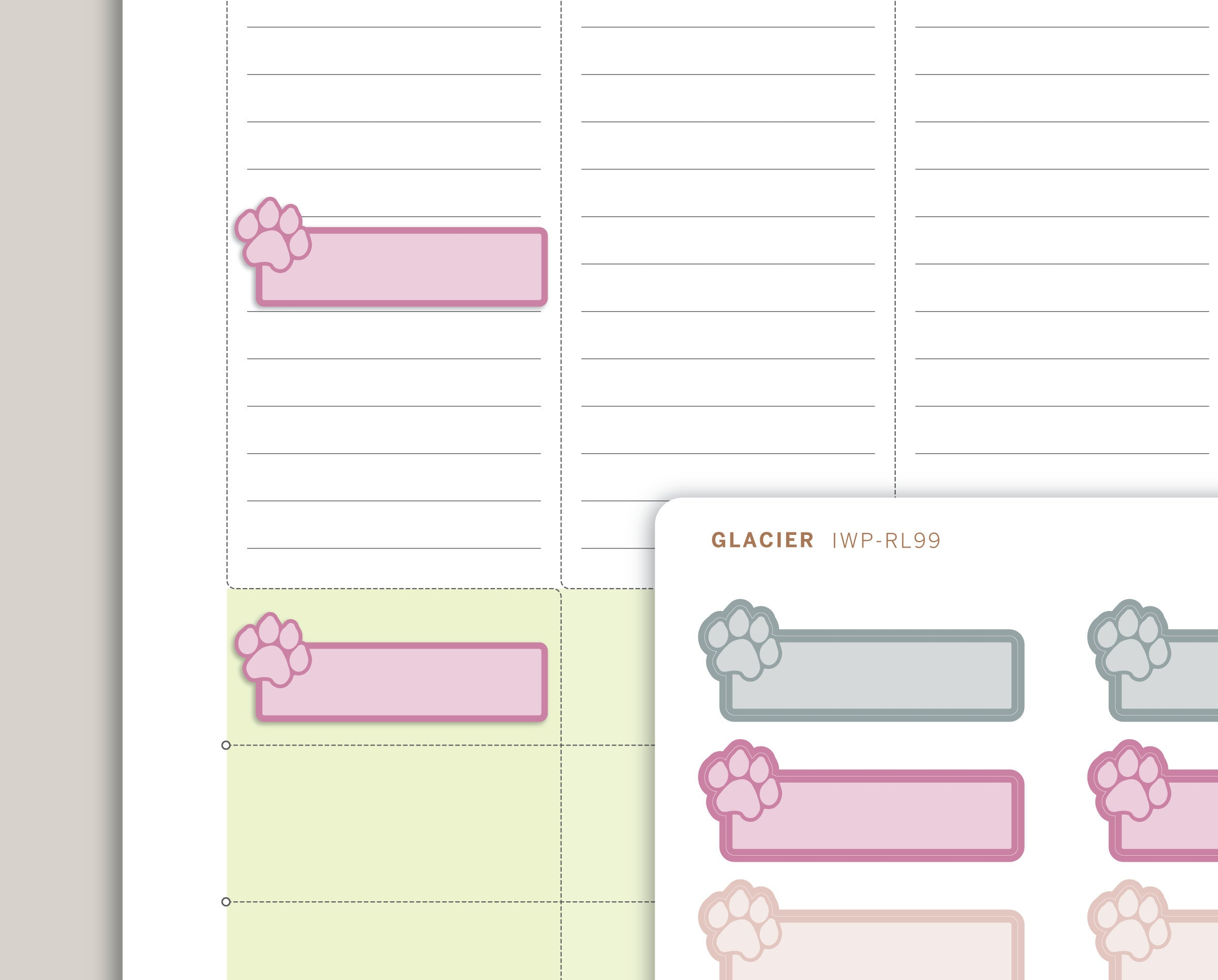 Pet Care Planner Stickers for 2020 inkWELL Press Planners IWP-RL99