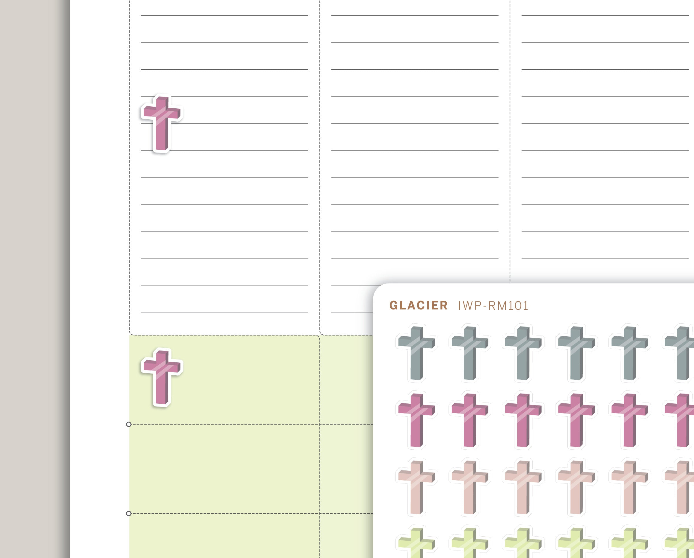 Cross Icon Planner Stickers for 2020 inkWELL Press Planners IWP-RM101
