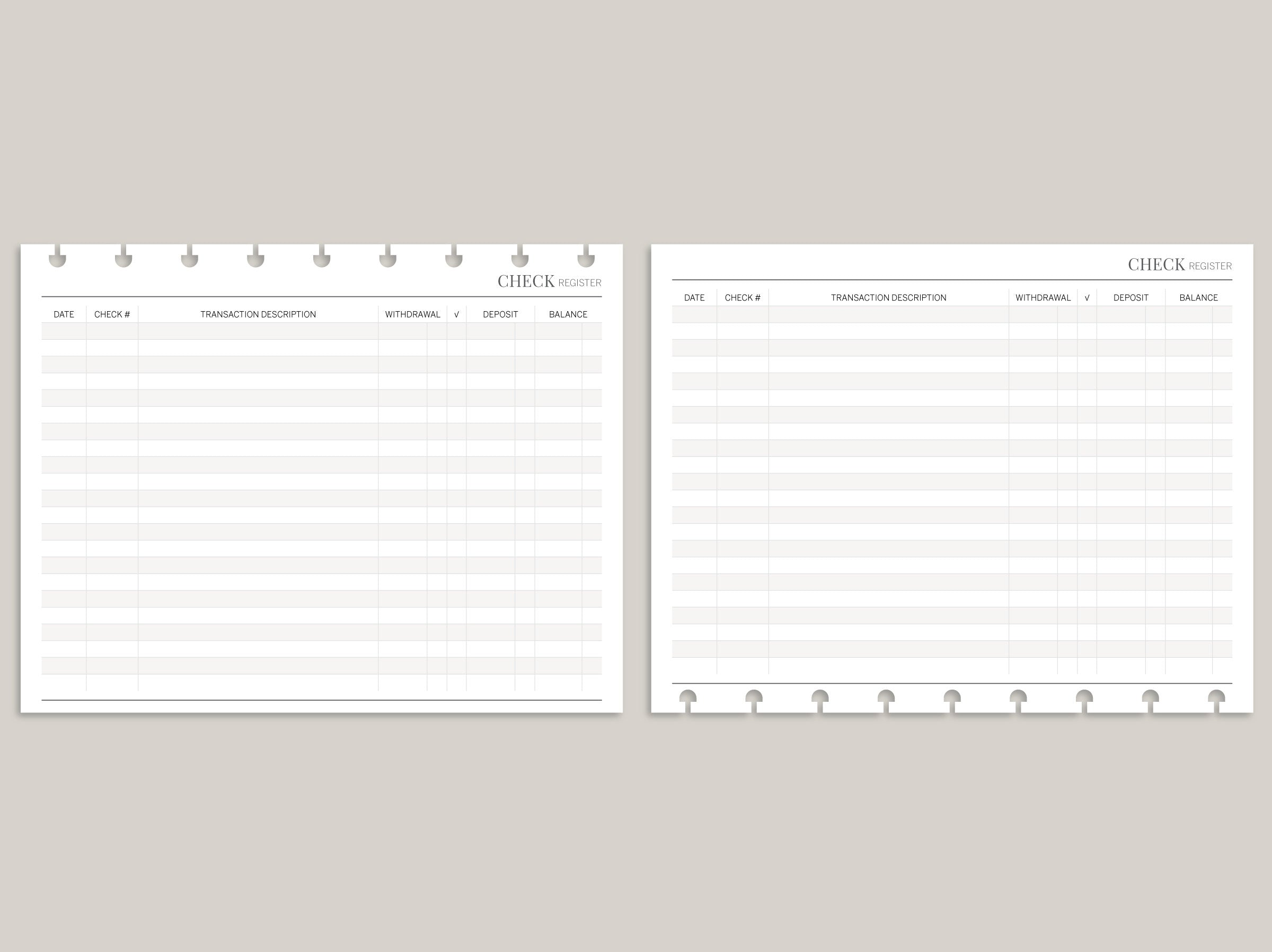 Check Register PRINTED Planner Inserts BW4