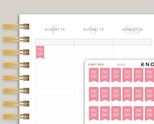 Pay Day Flag Planner Stickers for Makse Life Planner MM34