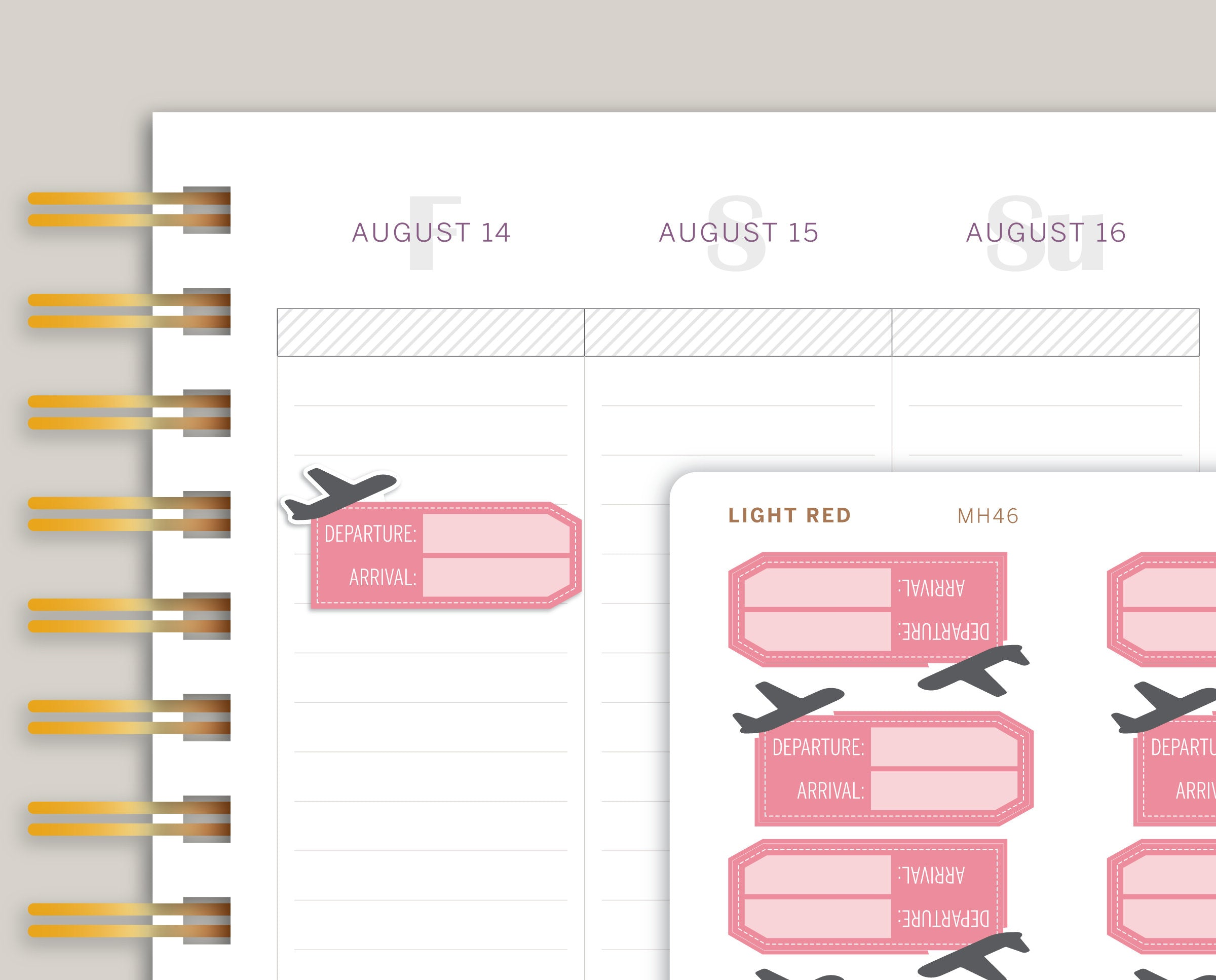 Flight Info Travel Tag Planner Stickers for Makse Life Planner MH46