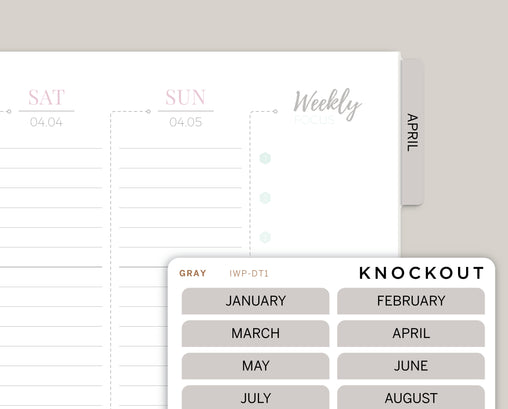 Month Tabbed Dividers Label Stickers for Inkwell 360 Disc Planner IWP-DT1