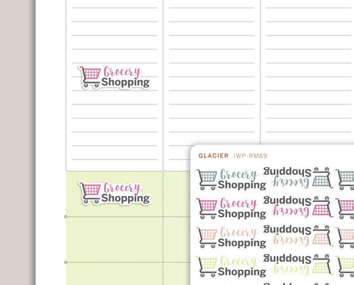 Grocery Shopping Icon Planner Stickers for 2020 inkWELL Press Planners IWP-RM89