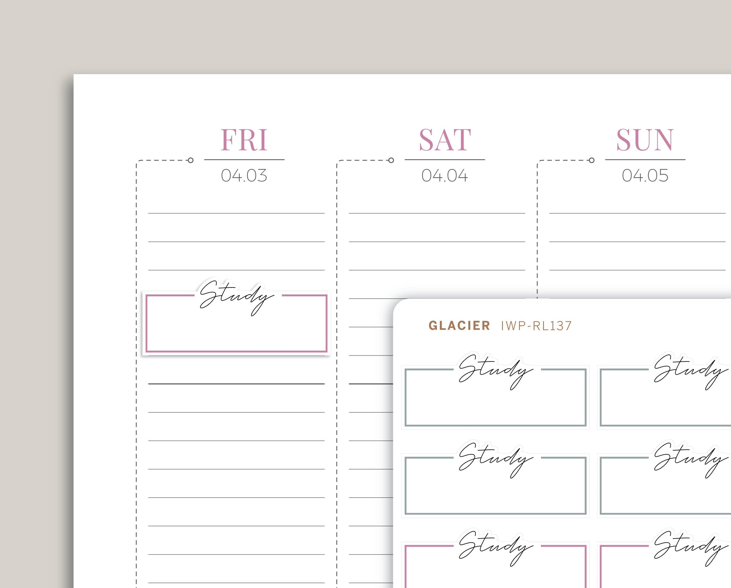 Study Outlined Quarter Box Planner Stickers for 2020 inkWELL Press Planners IWP-RL137