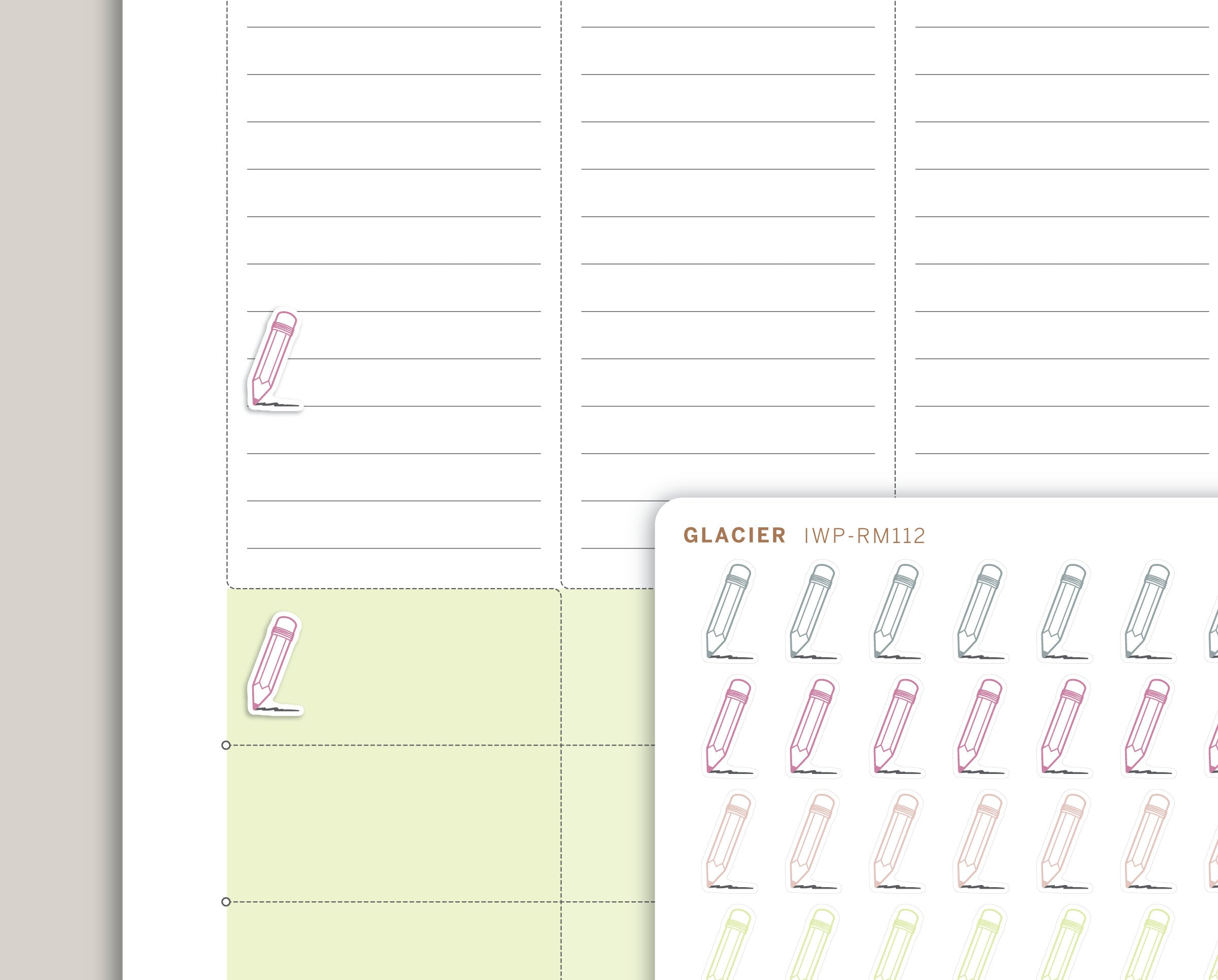 Pencil Icon Planner Stickers for 2020 inkWELL Press Planners IWP-RM112