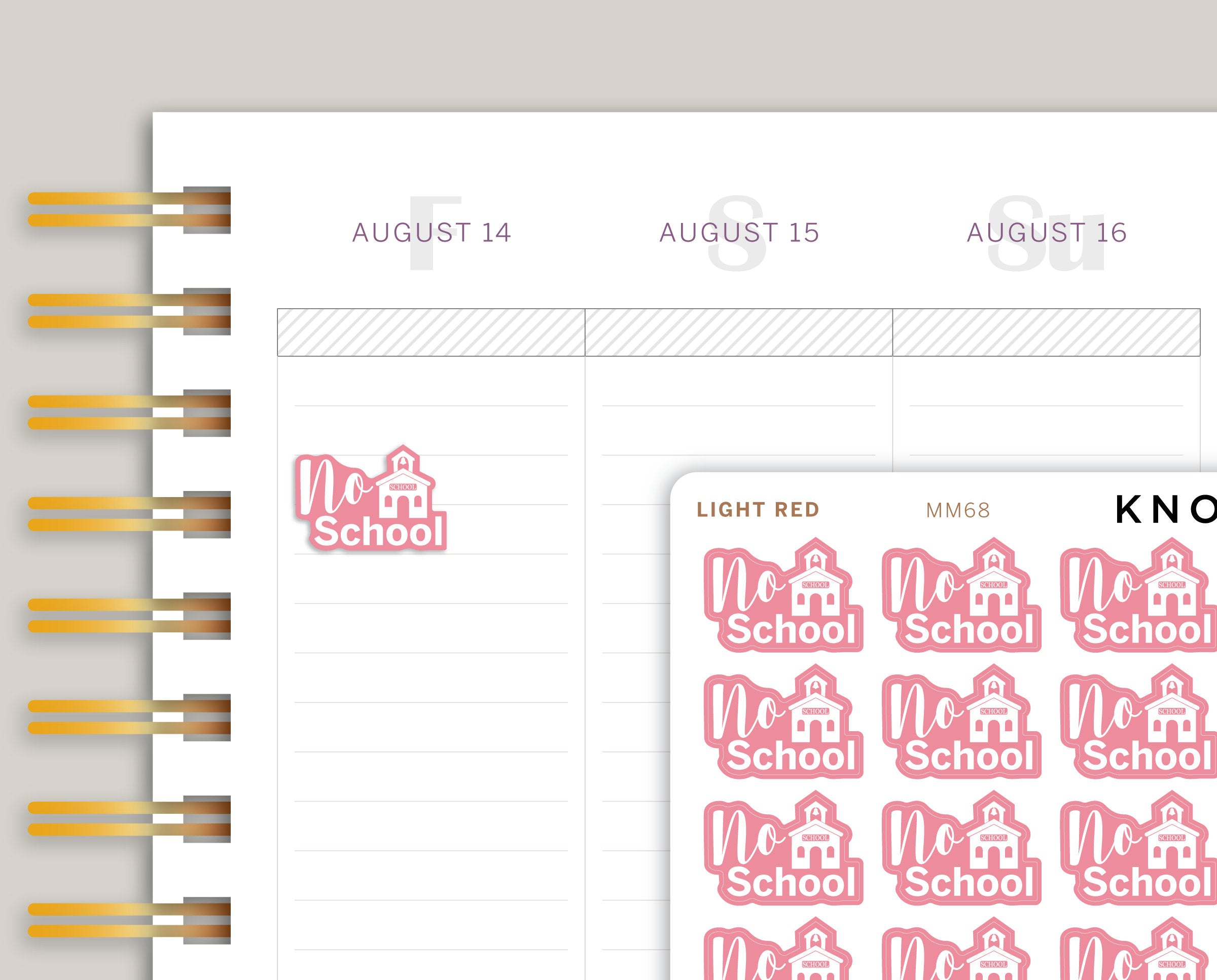 No School Icon Planner Stickers for Makse Life Planner MM68